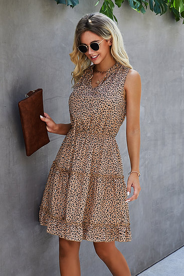 This Is The Reason Khaki Leopard Dress
