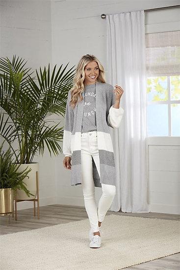Nylah Striped Cardigans - Grey