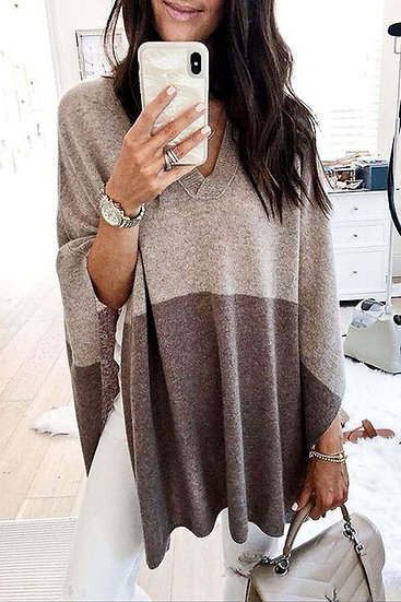 It's All About Fall Colorblock Knit Poncho Sweater