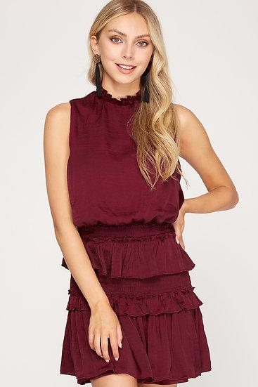 Easy Love Wine Smocked Dress