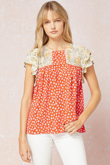 Step It Up Tomato Red Ditsy Floral Top