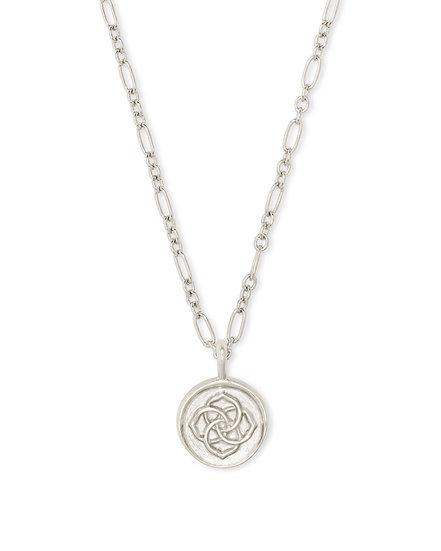 Dira Coin Pendant Necklace In Rhod Metal