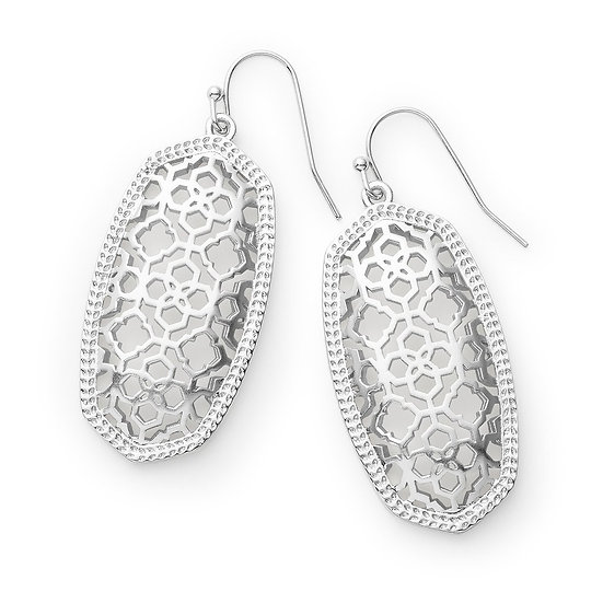 Elle Silver Drop Earrings In Rhodium Filigree Mix