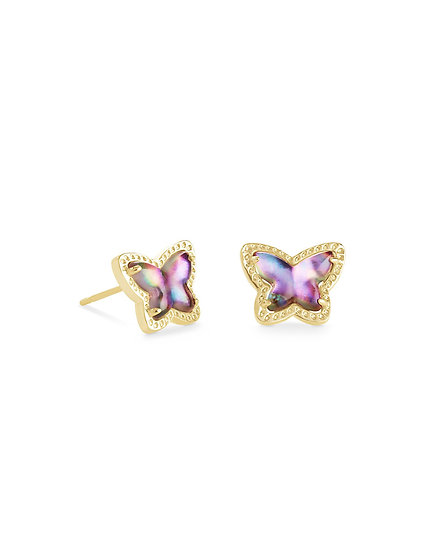 Lillia Butterfly Stud Earring In Gold Lilac Abalone