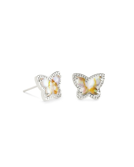 Lillia Butterfly Stud Earring In Rhodium Iridescent Abalone