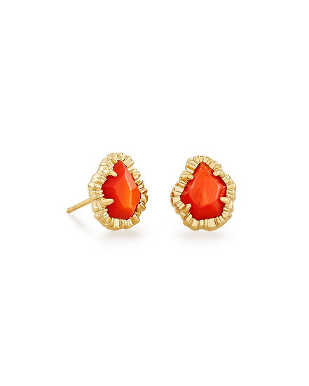 Tessa Gold Small Stud Earring In Papaya Mother Of Pearl