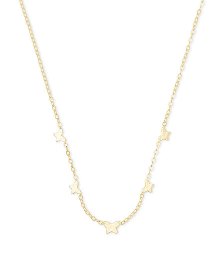 Lillia Butterfly Strand Necklace In Gold Metal