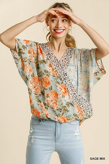 See You Soon Off Sage Mix Floral / Animal Print Top