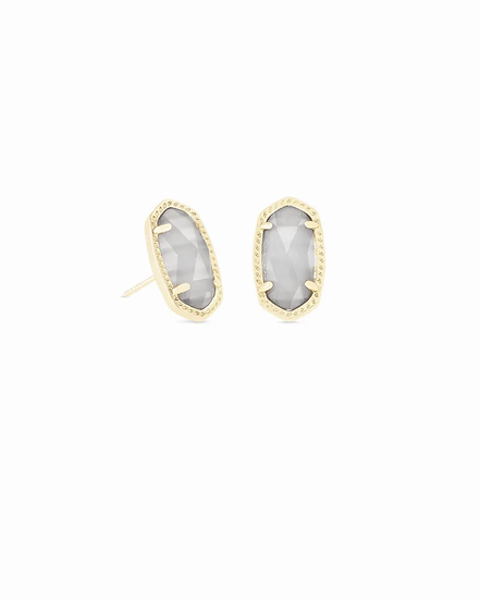 Ellie Gold Stud Earrings In Slate