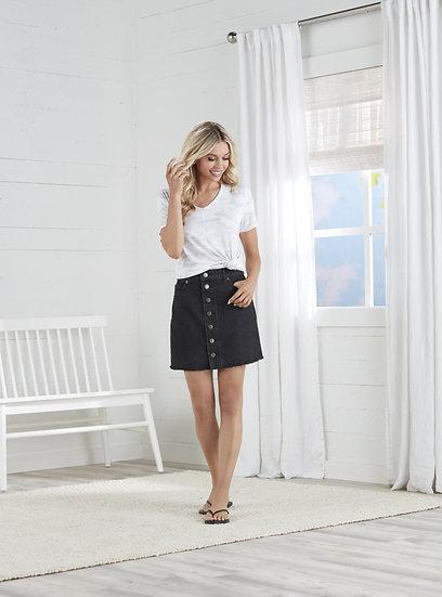 Fitz Button Front Skirt - Black