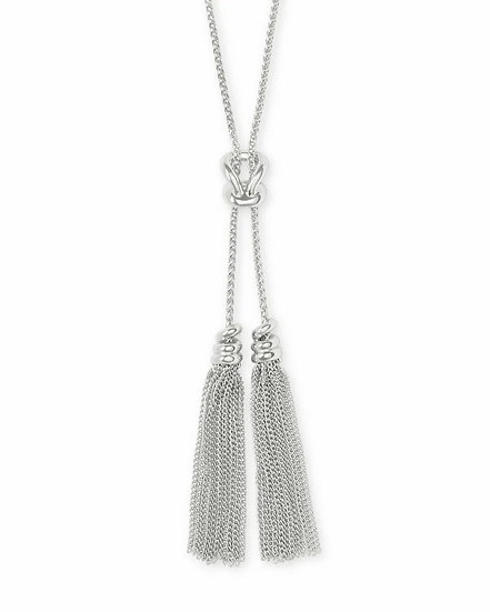 Presleigh Love Knot Y Necklace In Bright Silver