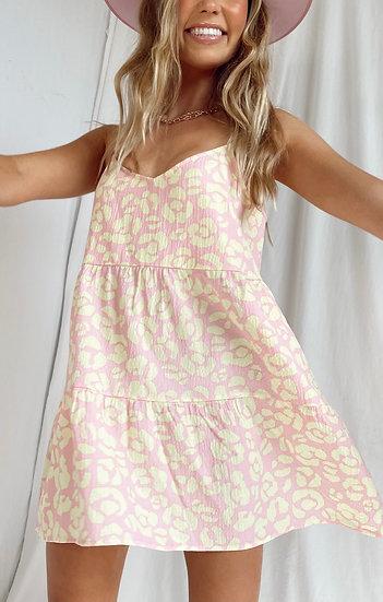 Caroline Mini Dress - Lemonade Cheetah