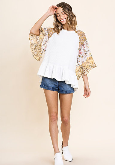 White Floral Paisley Mixed Print Bell Sleeve Waffle Knit Top