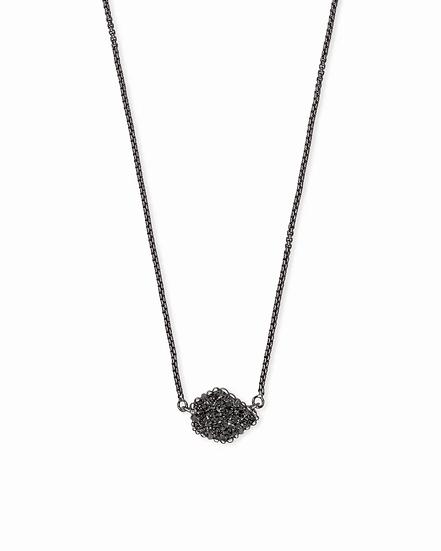 Tess Gunmetal Pendant Necklace In Black Drusy