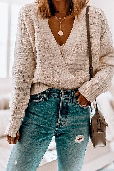 Lickety Split Criss Cross Sweater - Cream