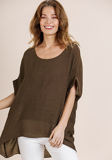 Dolman Sleeve Top with Lining - Brown