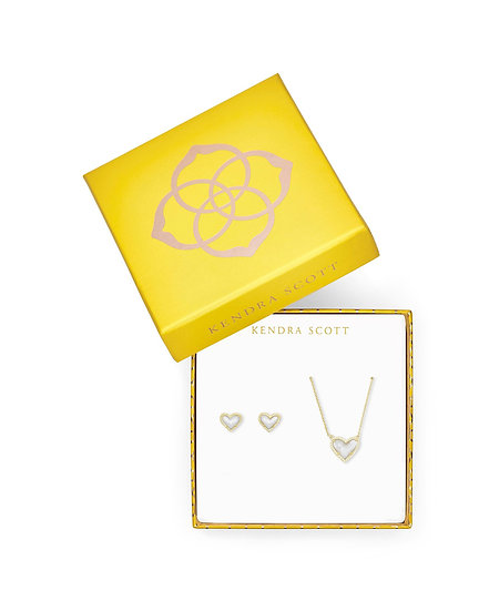 Ari Heart Necklace & Earrings Gift Set in Gold Ivory Mother of Pearl