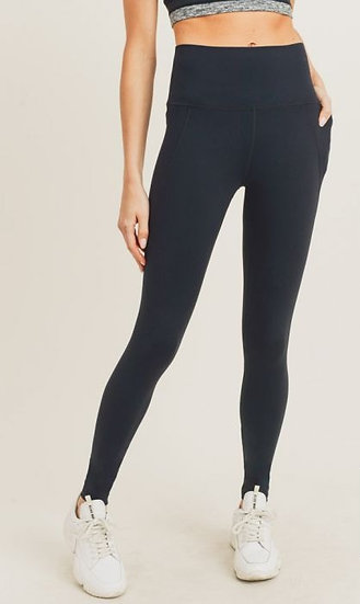 Black Tapered Band Essential Solid Highwaist Leggings