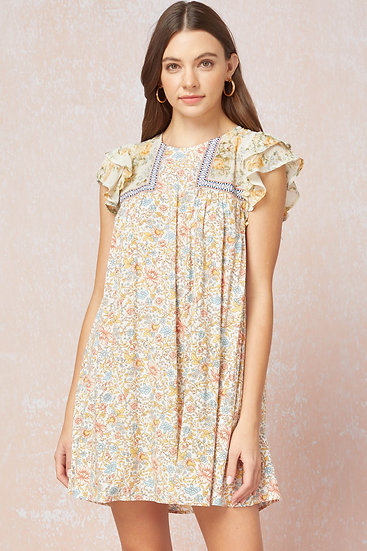 You Have My Attention Ivory Floral Dress
