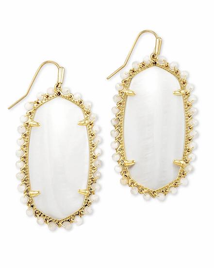 Beaded Danielle Gold Drop Earrings In White Mussel