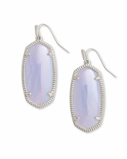 Elle Silver Drop Earrings In Blue Lace Agate