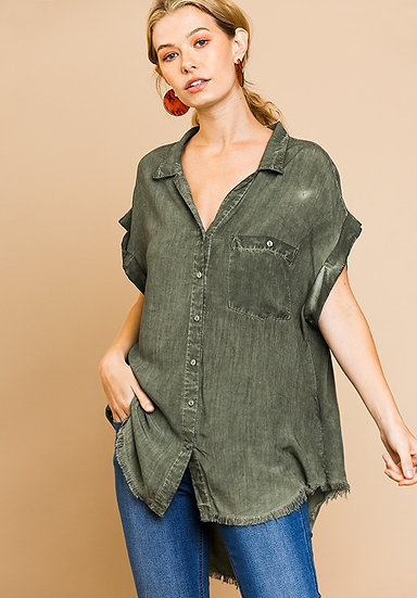 Army Green Washed Button Up Short Sleeve Top with Frayed Hemline
