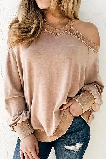 FreeStyle Cold Shoulder Top - Camel