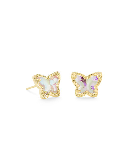 Lillia Butterfly Stud Earring In Gold Dichroic Glass