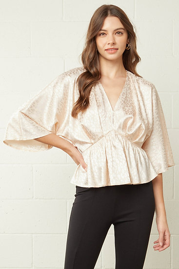 On A Roll Natural Satin Leopard Top