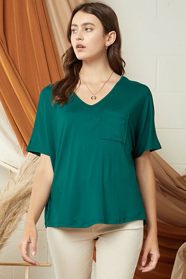 On The Lookout Hunter Green Pocket Top