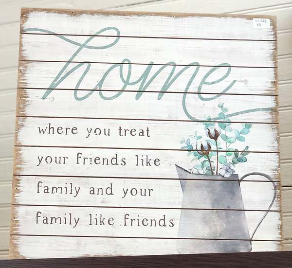 Home White Wooden Sign