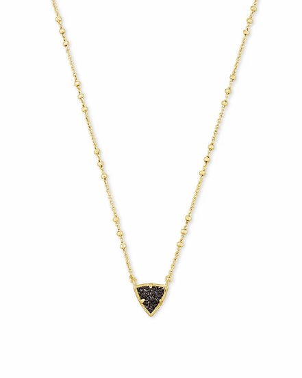 Perry Gold Pendant Necklace In Black Drusy