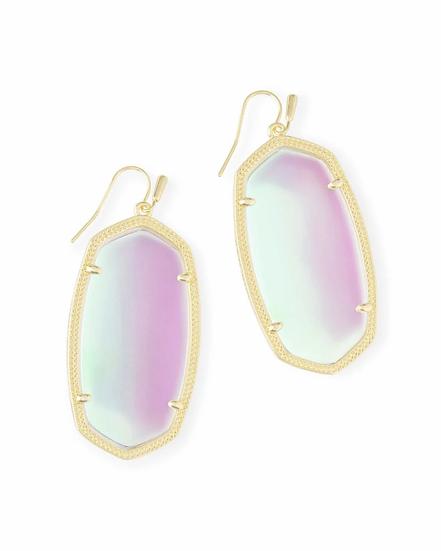 Danielle Gold Drop Earrings In Dichroic Glass