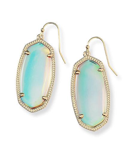 Elle Gold Drop Earrings In Dichroic Glass