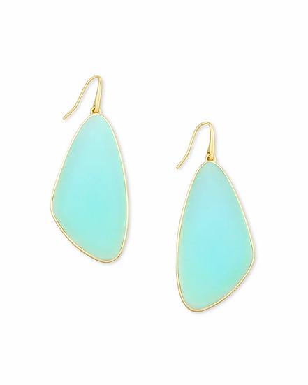 McKenna Gold Drop Earrings In Matte Iridescent Mint