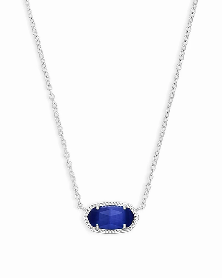 Elisa Silver Pendant Necklace In Cobalt Cats Eye - SEPTEMBER