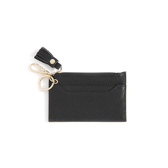 Cece Card Case With Key Chain - Black