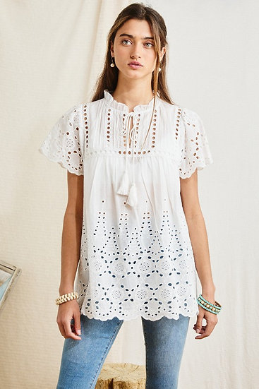 Before It's Over Off White Eyelet Top