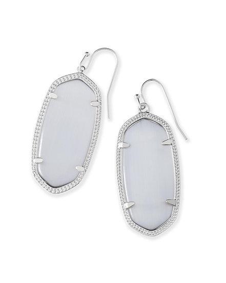 Elle Silver Drop Earrings In Slate Cats Eye