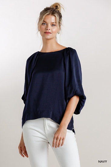 This Is You Navy Bubble Sleeve Top