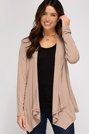 Keep Calm Cotton Blend Pocketed Knit Cardigan - Taupe