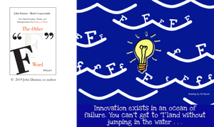 """Graphic - Innovation exists in an ocean of failure. You can't get to """"I""""land without jumping in the water..."""