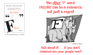 graphic - failure is the elephant in the room. talk about it... if you don't, chances are your people won't.