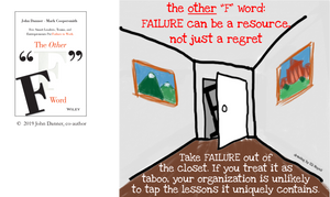 Take Failure out of the closet graphic. If you treat failure as taboo, your organization is unlikely to tap the lessons it uniquely contains.