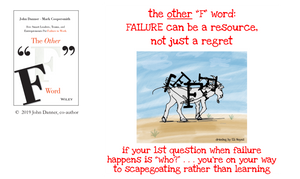 illustration with caption if your first question when failure happens is who, you're on your way to scapegoating rather than learning