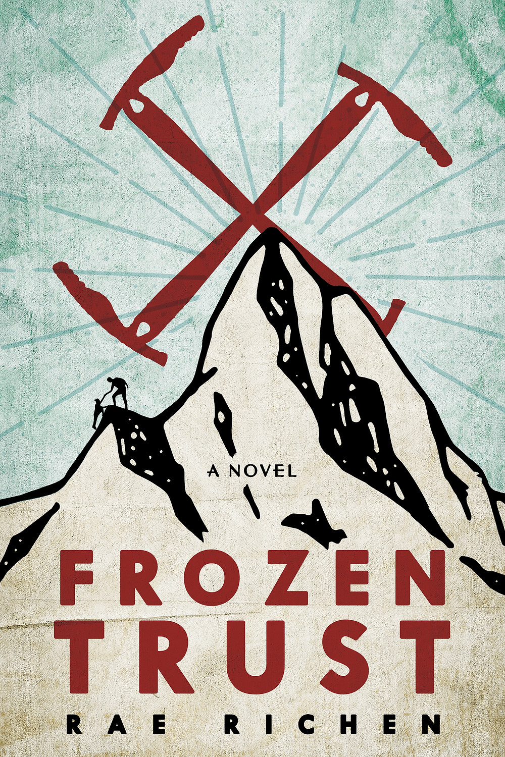 Cover of novel Frozen Trust, mountain, ice axe/sun emblem, two climbers helping each other