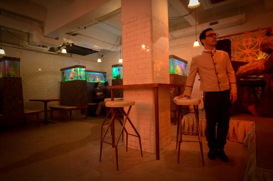 RAAW | Adrain Wong | Absolute Art Basel Art Bar | Art Installation Drunken ducks(waiters by dancer) serving the bar