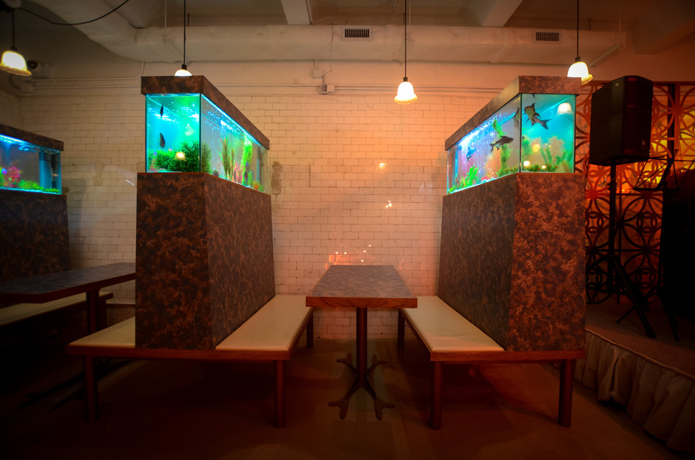 "Cantonese ""carseat-卡位"" RAAW | Adrain Wong | Absolute Art Basel Art Bar | Art Installation with improvisation of Fish Tank"