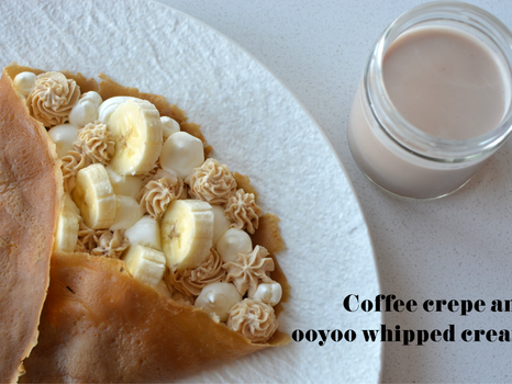 Coffee crepe and ooyoo whipped cream - breakfast, brunch, dessert recipe