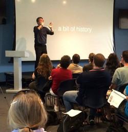 Marvin presenting a Deafhood Seminar at Gallaudet University, 2016